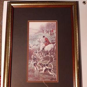 """Vintage Framed Artwork """"Running The Hounds"""""""